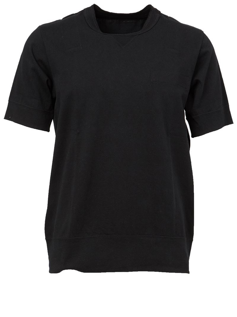 Sacai ribbed collar t shirt in black for men lyst for Mens ribbed t shirts