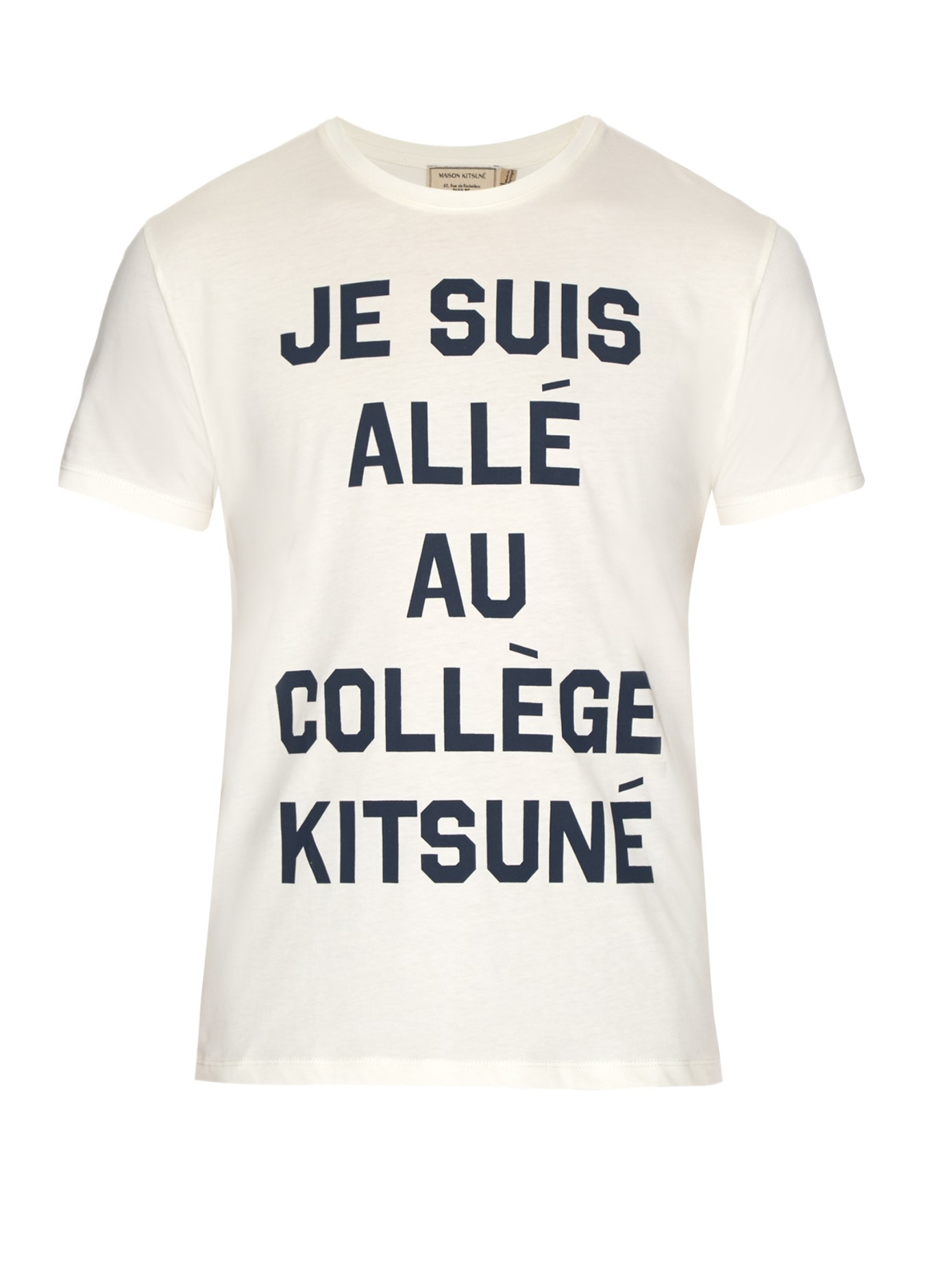 maison kitsun je suis all cotton jersey t shirt in white for men lyst. Black Bedroom Furniture Sets. Home Design Ideas