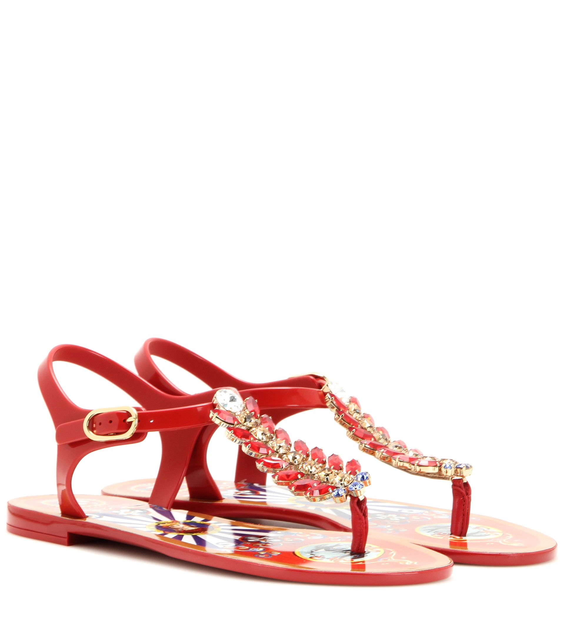 3fefa553afd5 Lyst - Dolce   Gabbana Crystal-Embellished Sandals in Red
