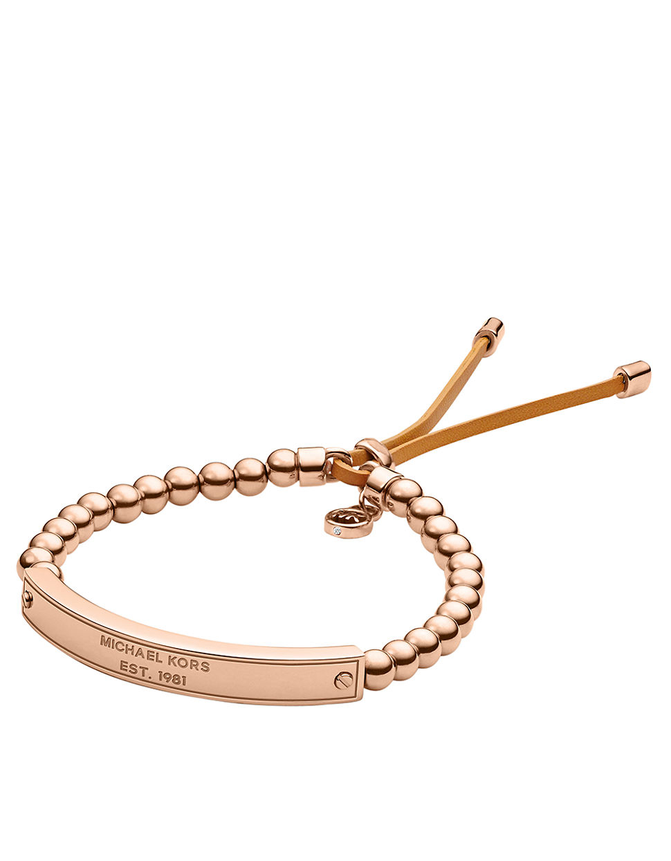 michael kors rose goldtone bead and logo plaque stretch bracelet in metallic lyst. Black Bedroom Furniture Sets. Home Design Ideas