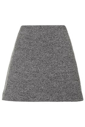 Topshop Jersey Herringbone A-line Skirt in Gray | Lyst