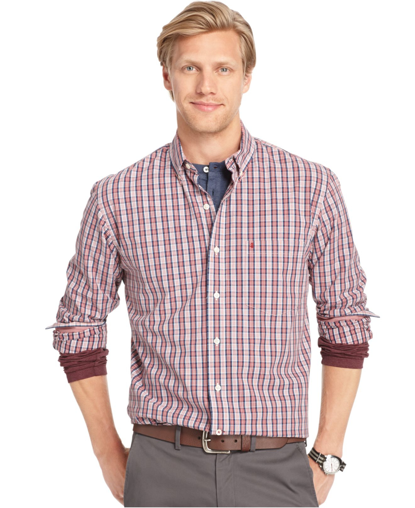 Izod medium plaid button down shirt in red for men russet for Izod button down shirts