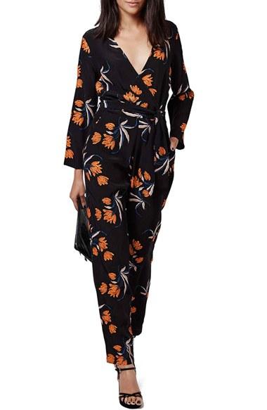fecf0ef41a98 Lyst - TOPSHOP Floral Surplice Jumpsuit in Black