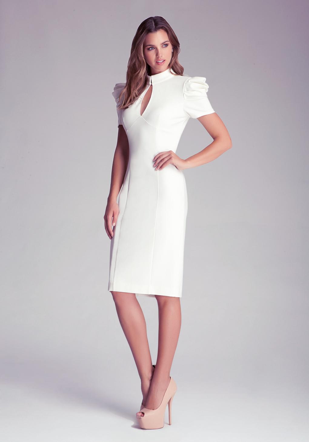bebe kirstie pleated midi dress in white lyst