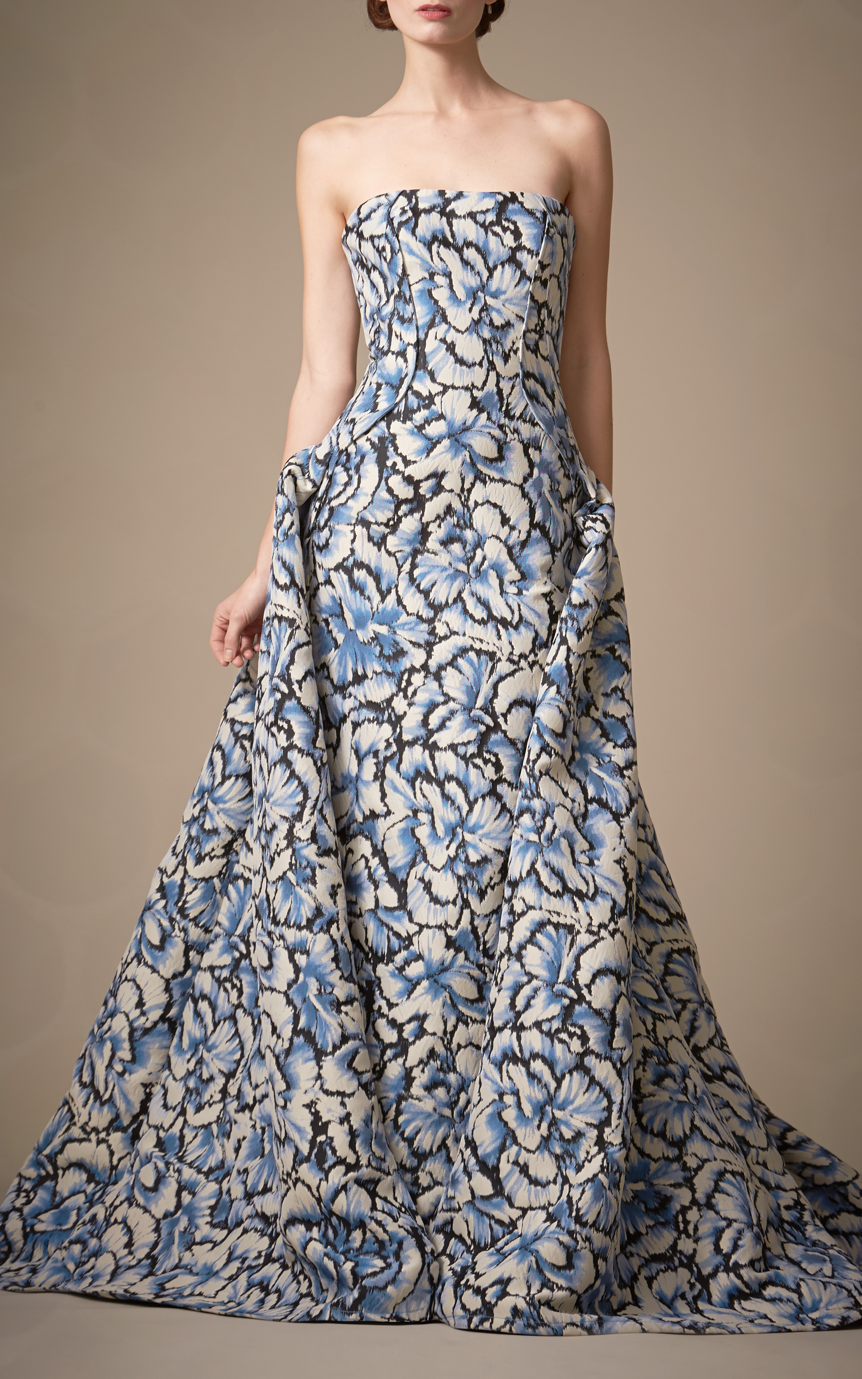 Lyst - Carolina Herrera Floral Printed Ball Gown in White