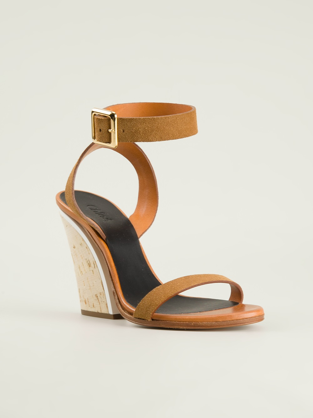 Chloé Chunky Heel Sandals in Natural | Lyst
