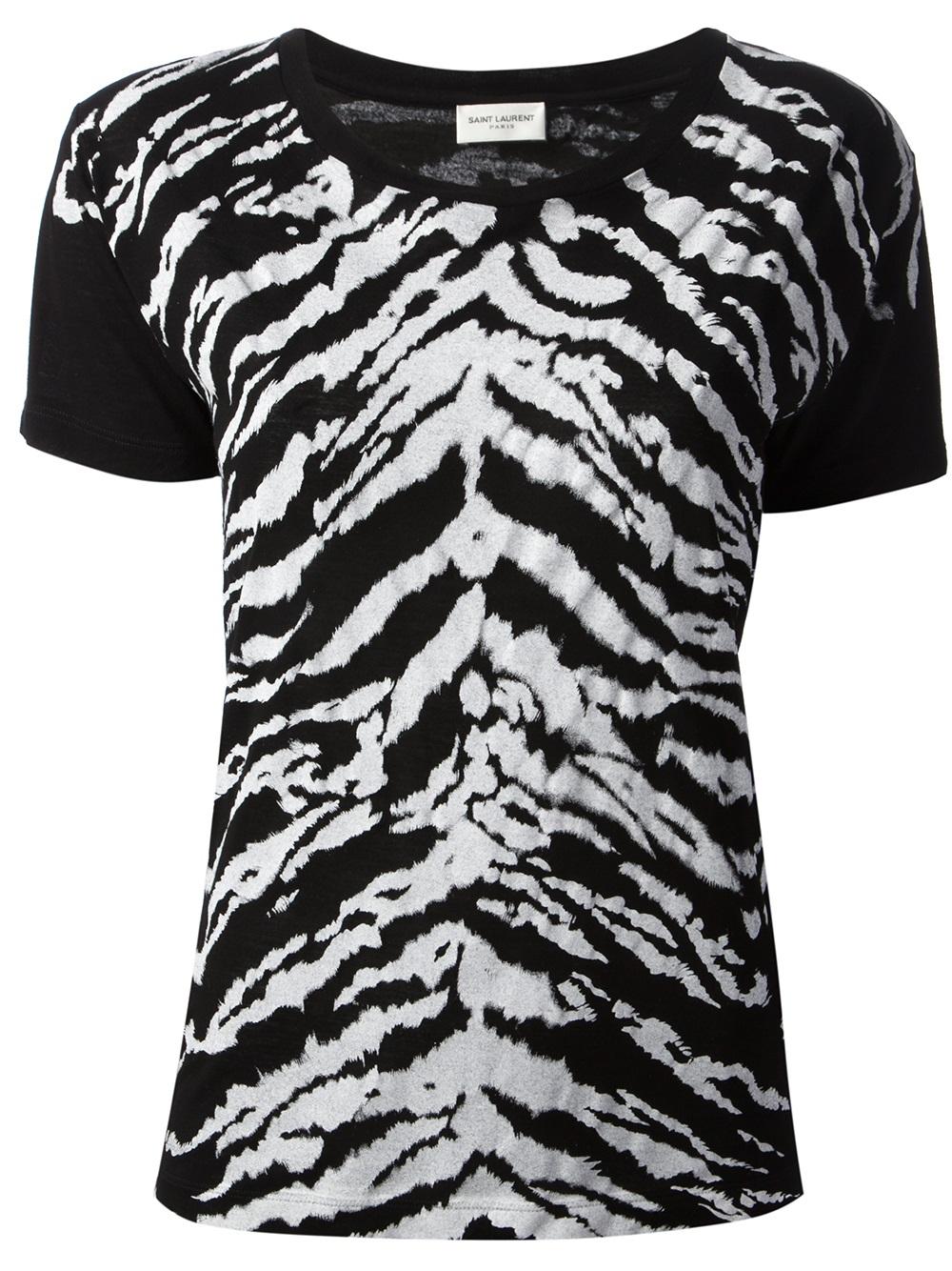 lyst saint laurent zebra print tshirt in black. Black Bedroom Furniture Sets. Home Design Ideas