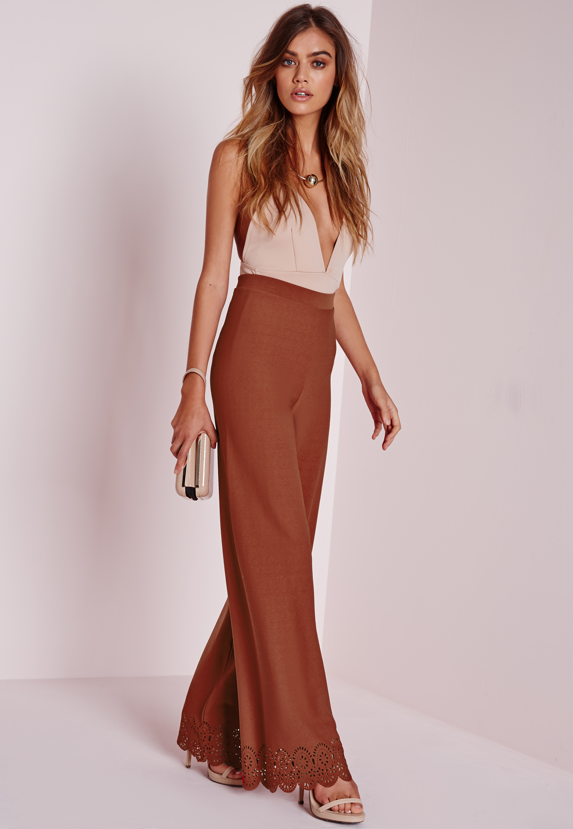 Lyst Missguided Laser Cut Wide Leg Pants Rust In Brown