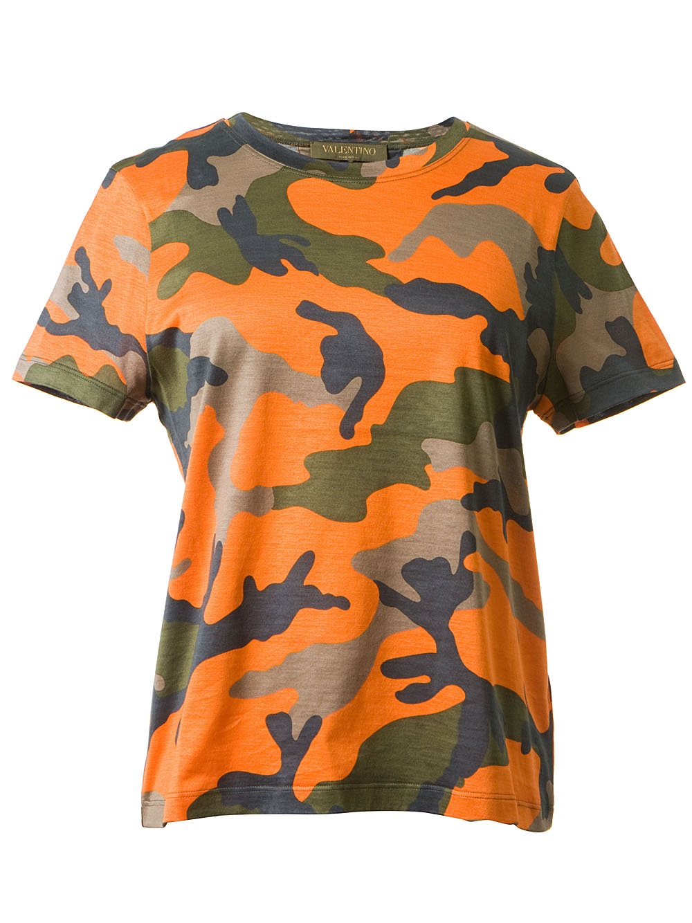 Lyst valentino camouflage print t shirt in orange for Where to print shirts