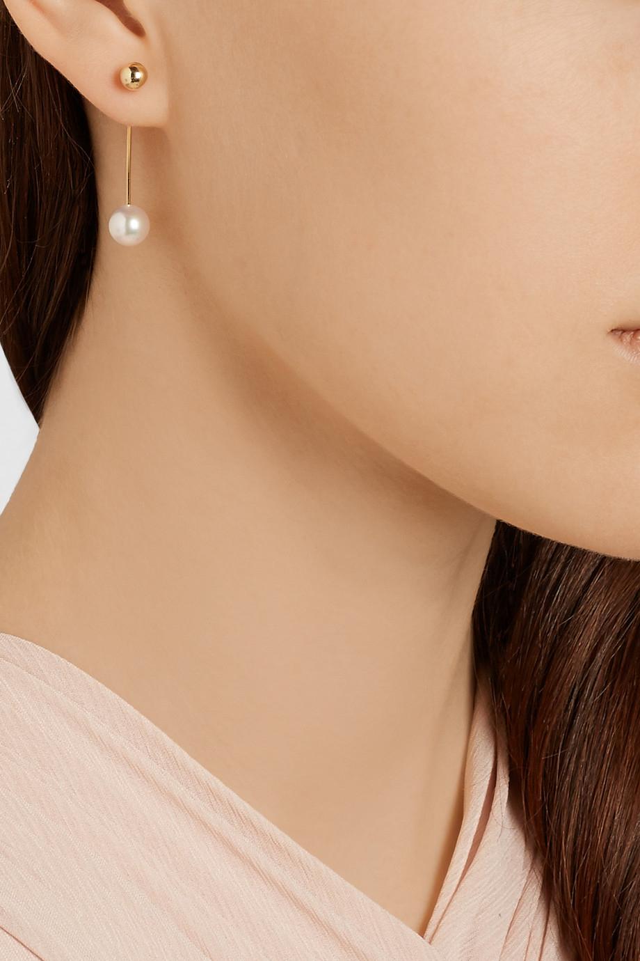 Sophie Bille Brahe Petite Elipse Nouveau 14-karat Gold Pearl Earring jAbegC