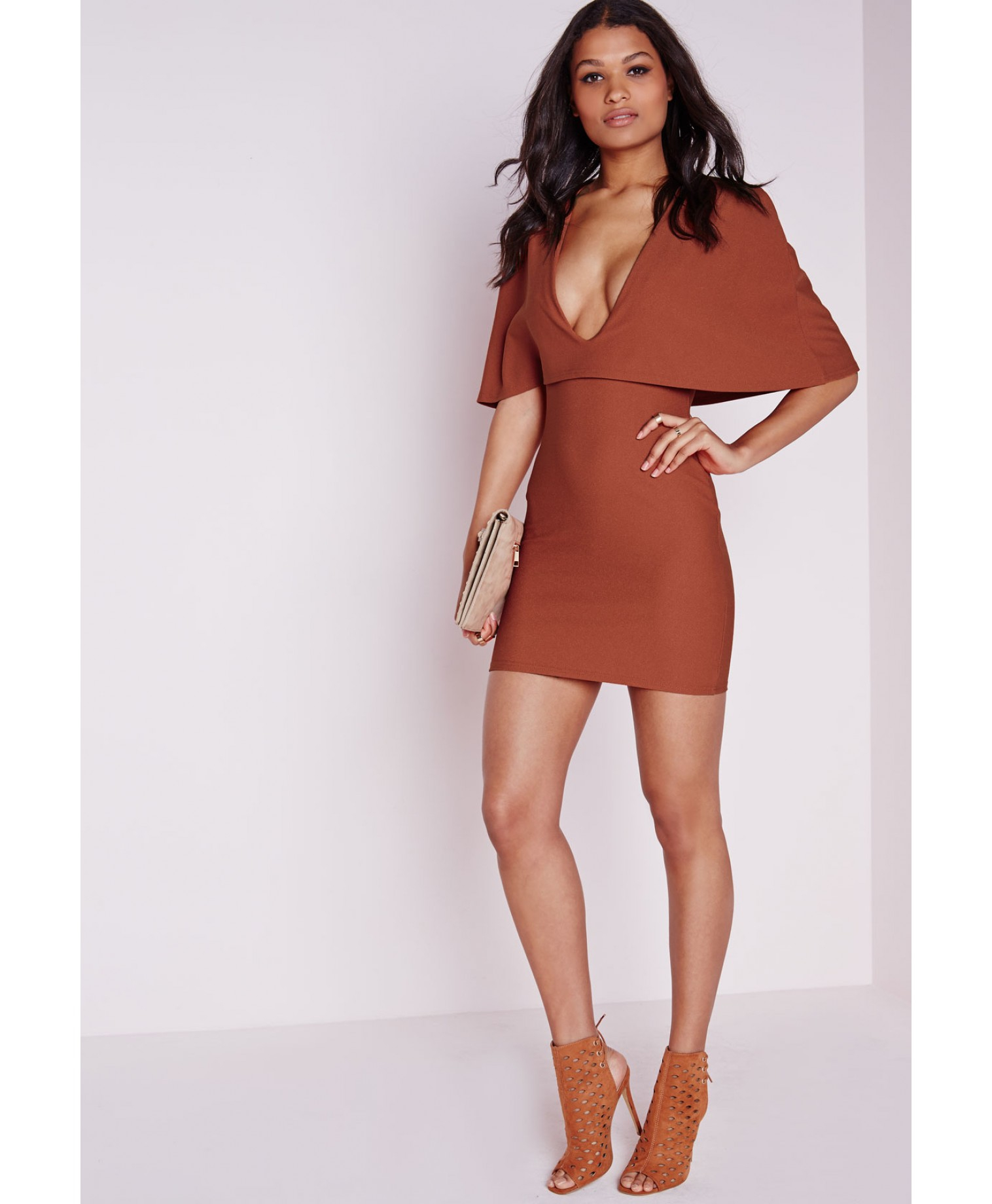 Brown Cape Dress