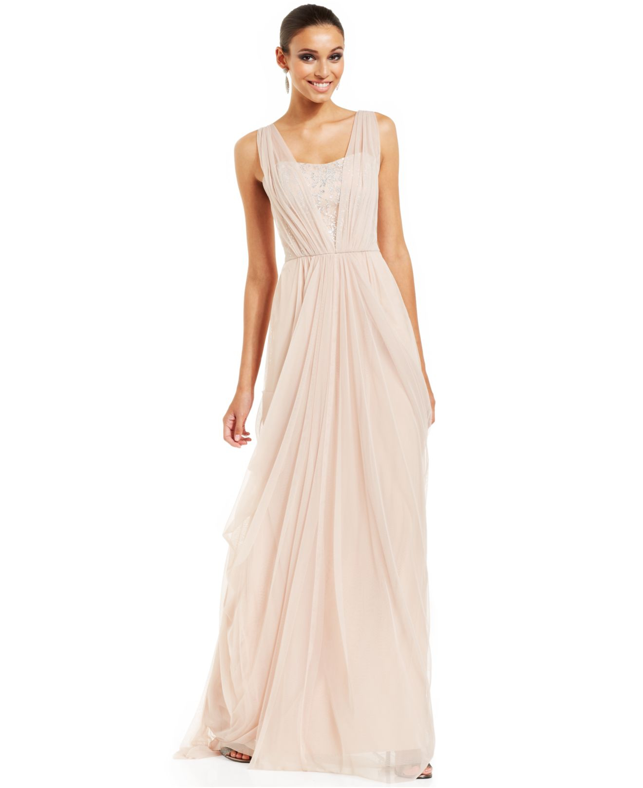 Goddess Dress: Vera Wang Lace-Inset Draped Goddess Gown In Pink