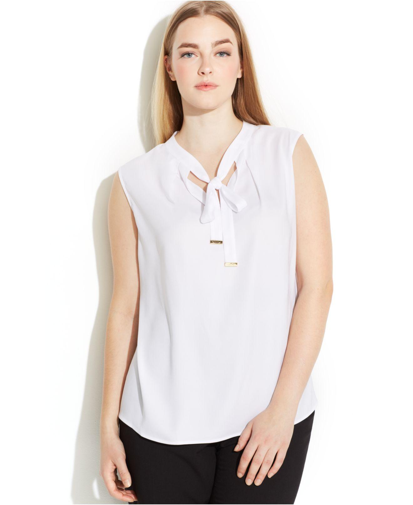 e92e82e1175 Lyst - Calvin Klein Plus Size Sleeveless Tie-Neck Blouse in White