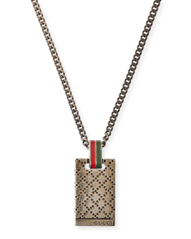 81d2b3d9422a Lyst Gucci Mens Diamantissima Necklace In Metallic For Men. Gucci Necklace  190484 J8400 8106 Silver Bullitt Pendant Men Lady S
