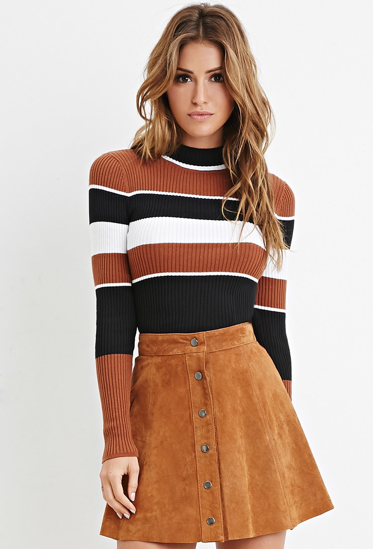 Forever 21 Mock Neck Striped Sweater in Black - Lyst