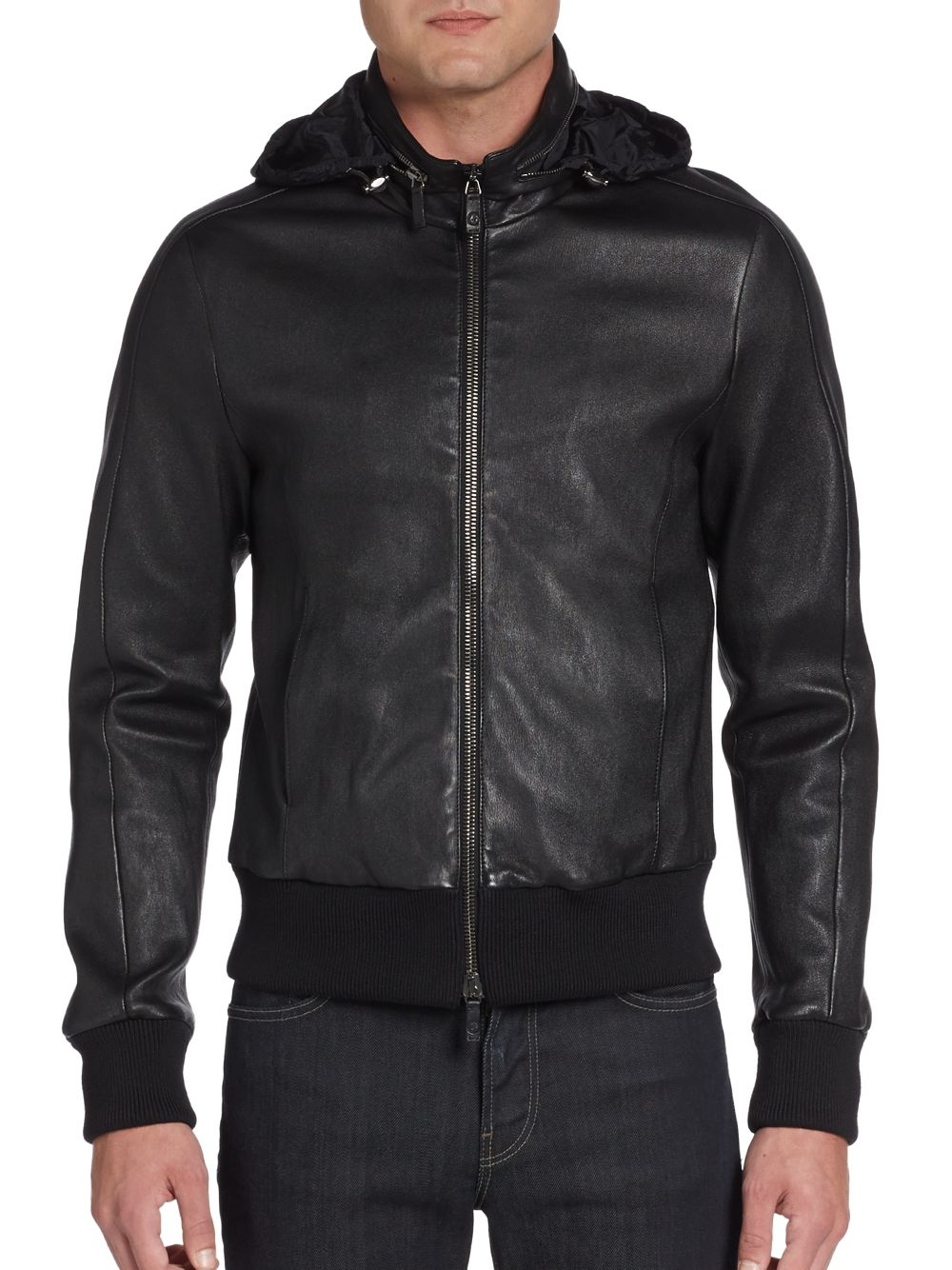 Lyst - Giorgio Armani Hooded Leather Bomber Jacket in Black for Men c0a1ed3e1