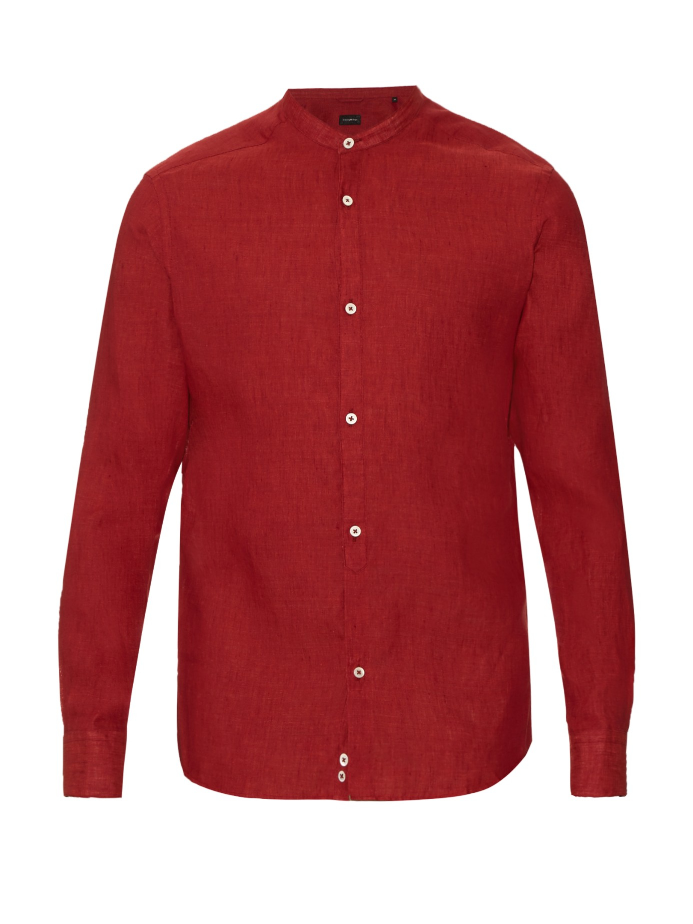 Ermenegildo zegna collarless linen shirt in red for men lyst for Collarless shirts for men