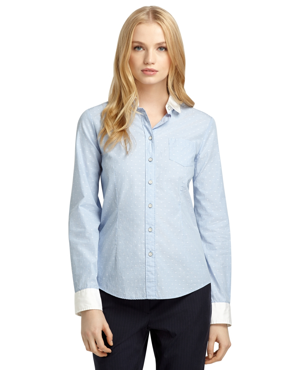 Lyst Brooks Brothers Dot And Stripe Shirt With White