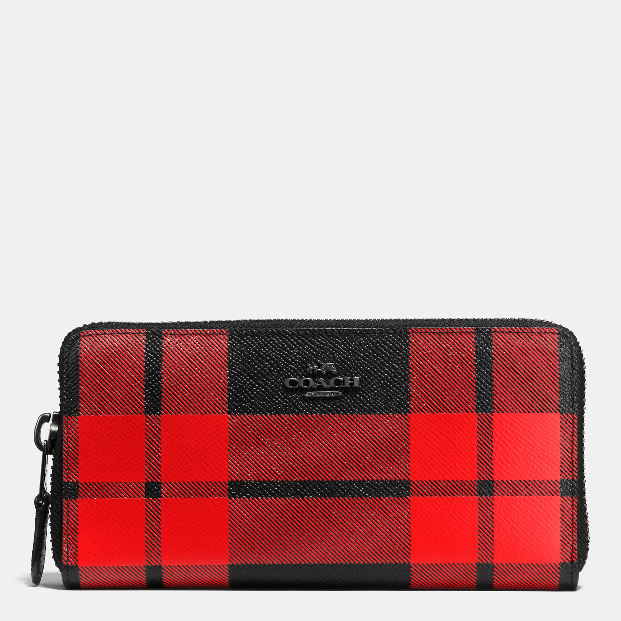 Coach Mount Plaid Accordion Zip Wallet In Leather In Black