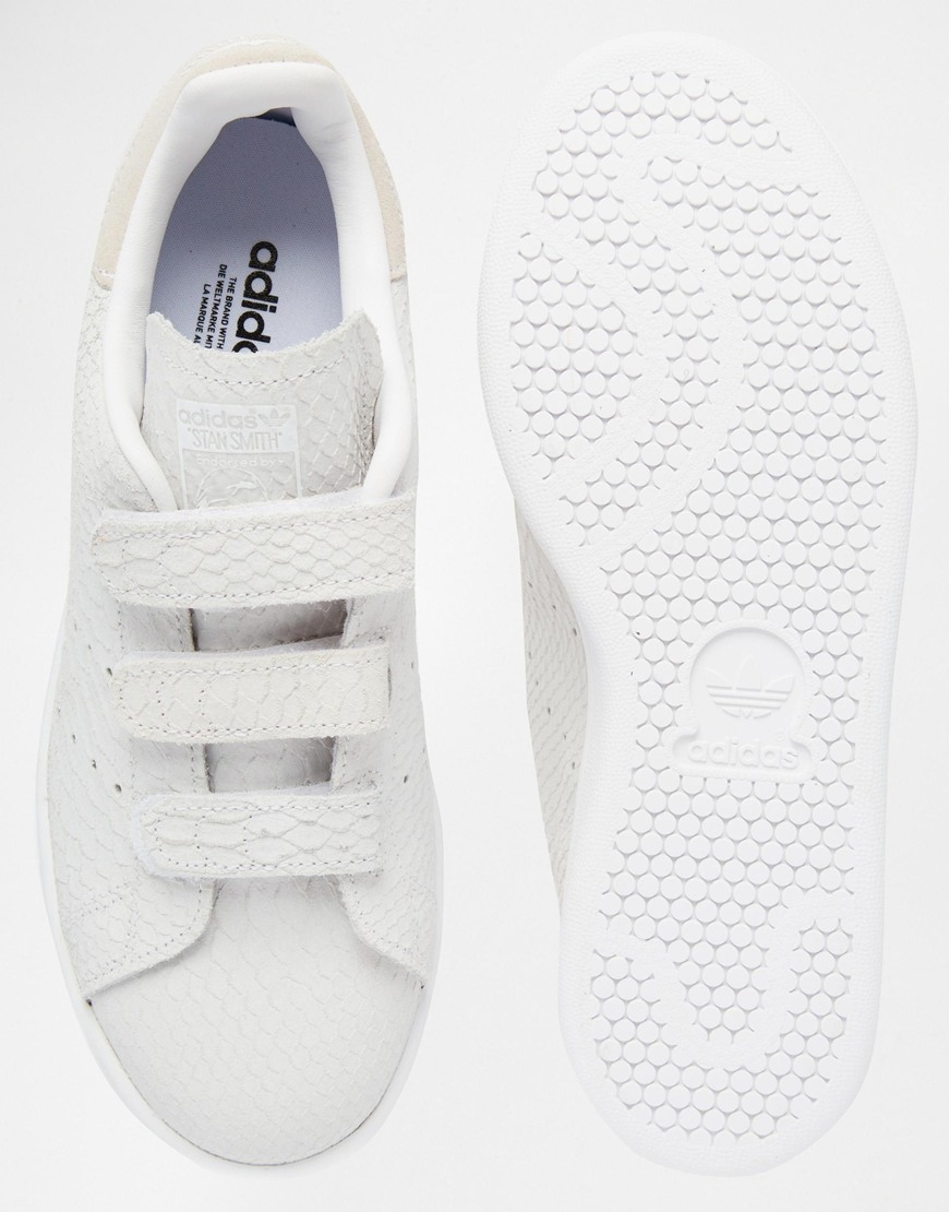 d5f6a186c13f Lyst - adidas Originals Stan Smith Snake-Embossed Suede Low-Top ...