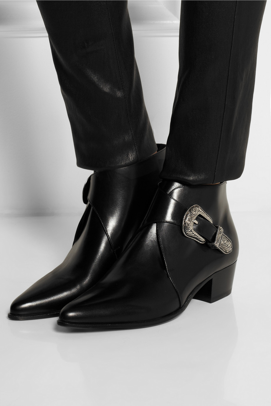 Lyst - Saint Laurent Duckies Leather Ankle Boots in Black c6040937aa52