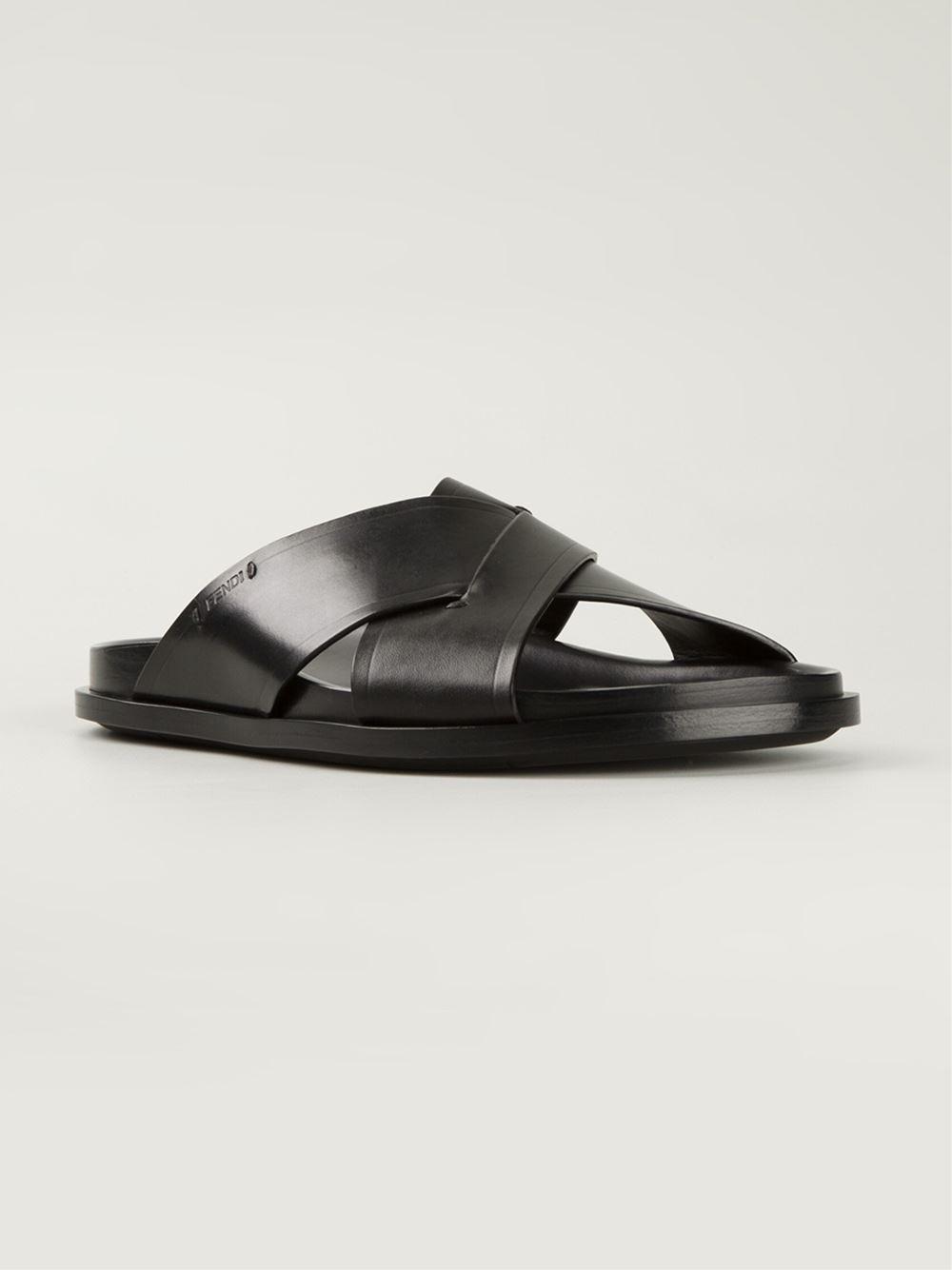 69eb5dc6c94c Fendi Open Toe Flat Sandals.Lyst Fendi Zucca Anklewrap Flat Sandal ...