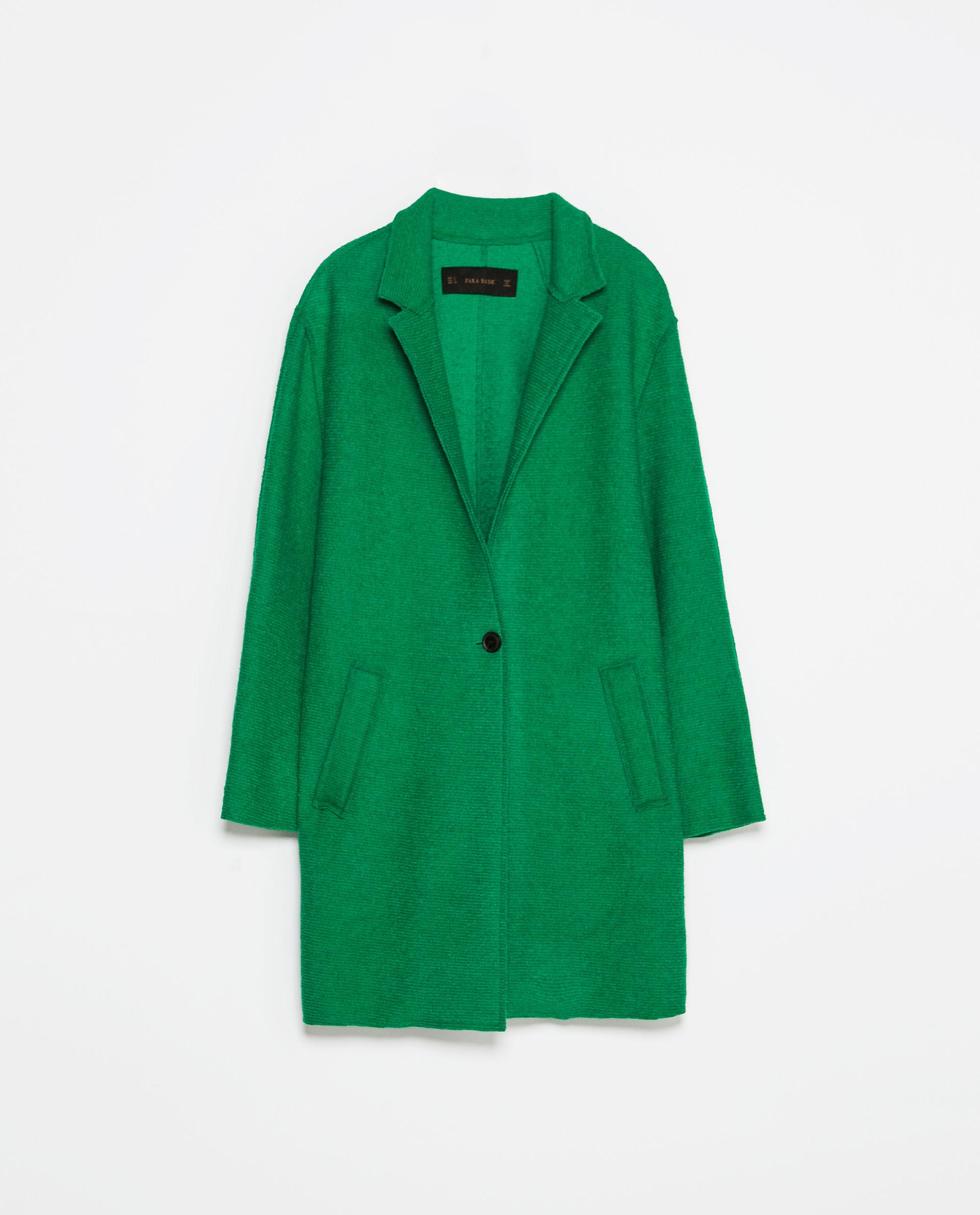Zara Wool Coat in Green | Lyst