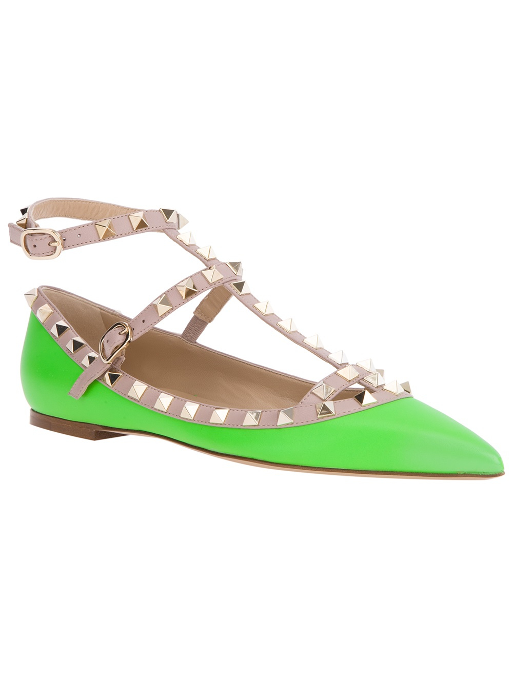 valentino rockstud ballerina flat in green lyst. Black Bedroom Furniture Sets. Home Design Ideas