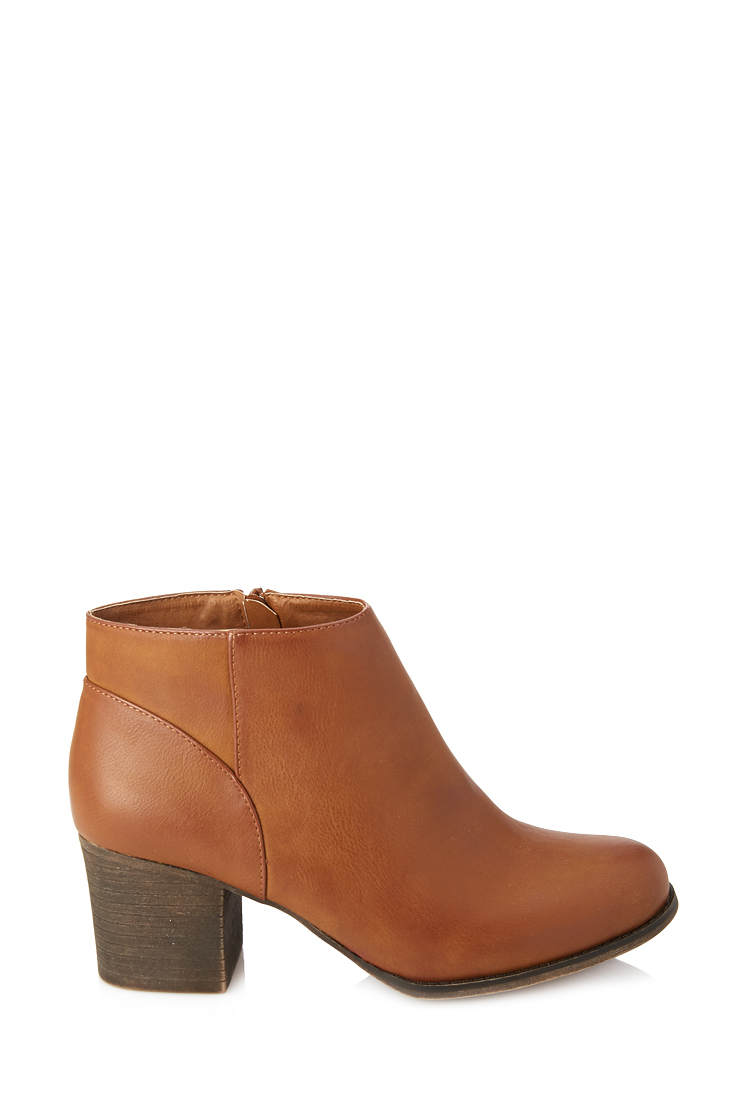 Forever 21 Classic Faux Leather Booties In Brown | Lyst