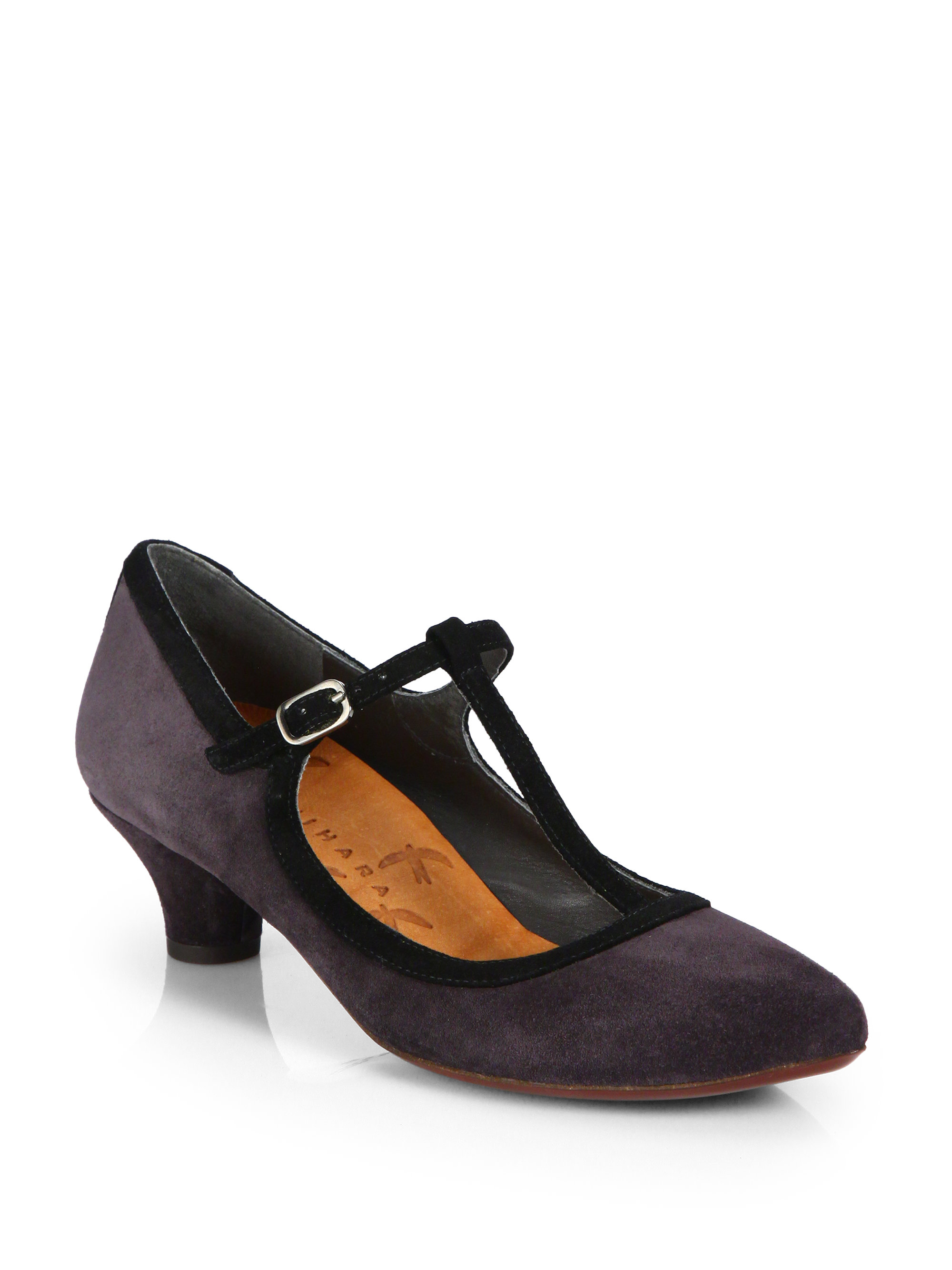 Chie mihara Fix Suede T-Strap Kitten Heel in Brown  Lyst
