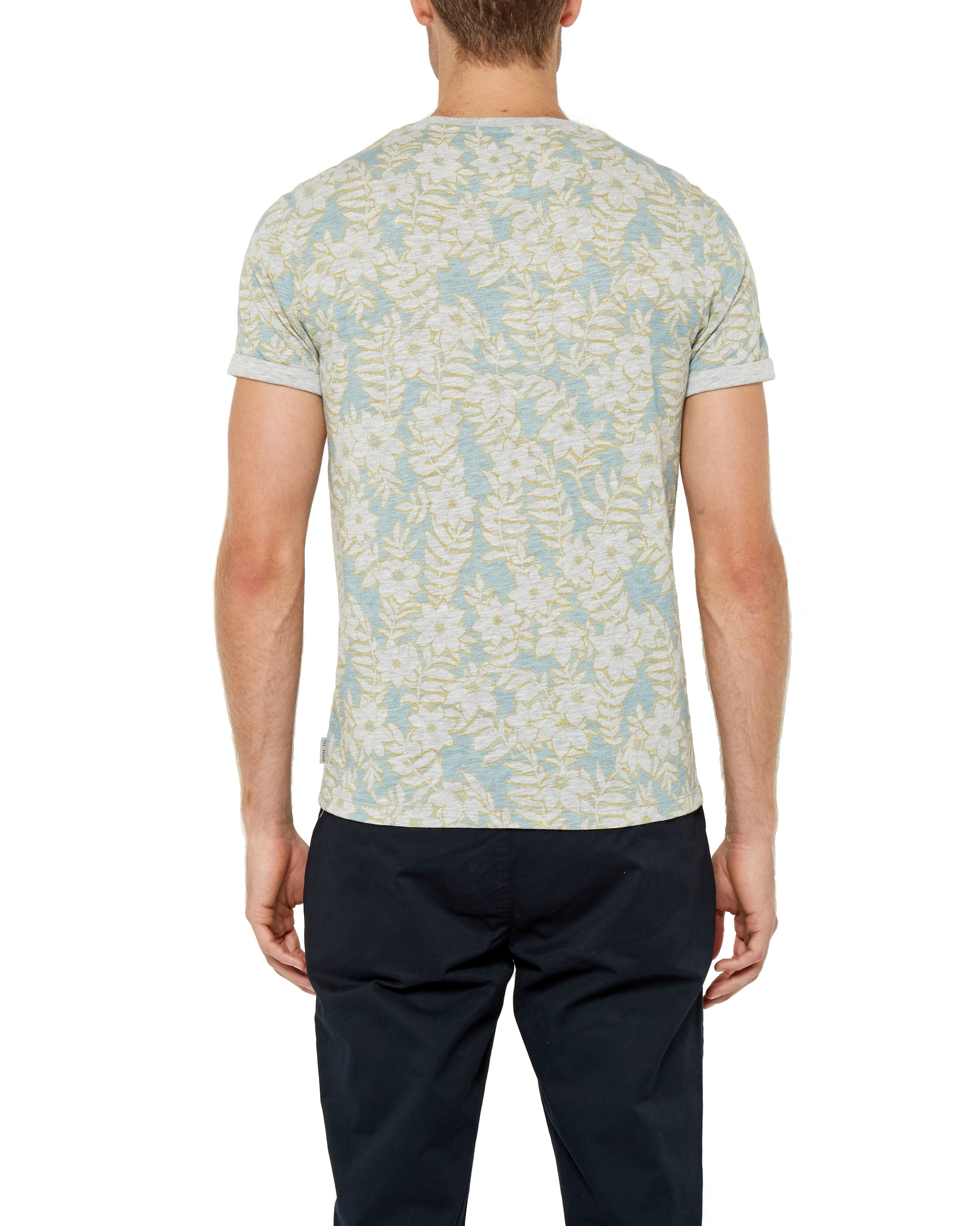 Ted baker rootz floral cotton t shirt in green for men lyst for Ted baker floral shirt