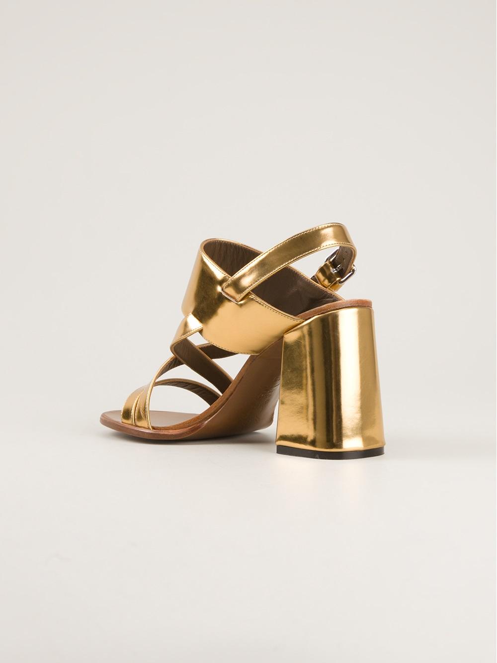 Marni Chunky Heel Sandal in Metallic | Lyst