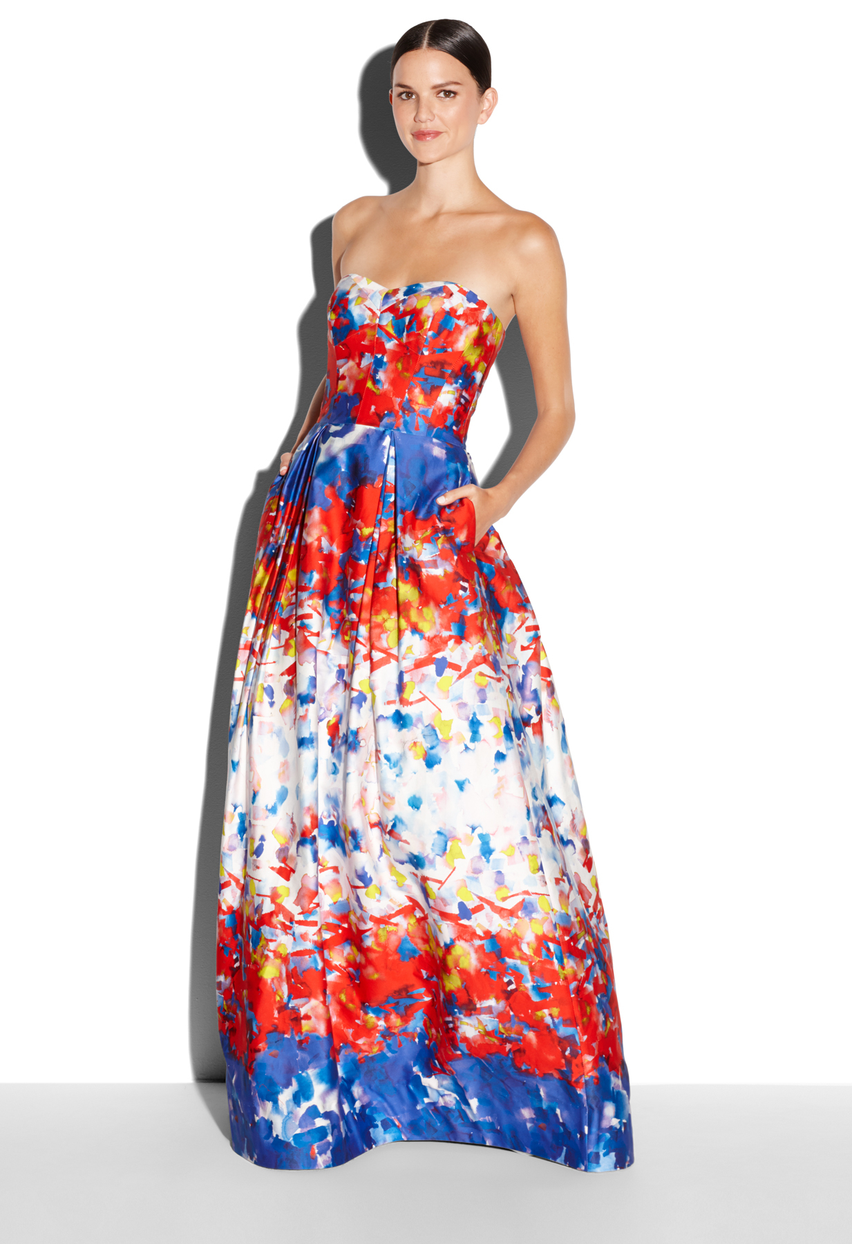 Lyst - Milly Watercolor Print Ava Strapless Gown