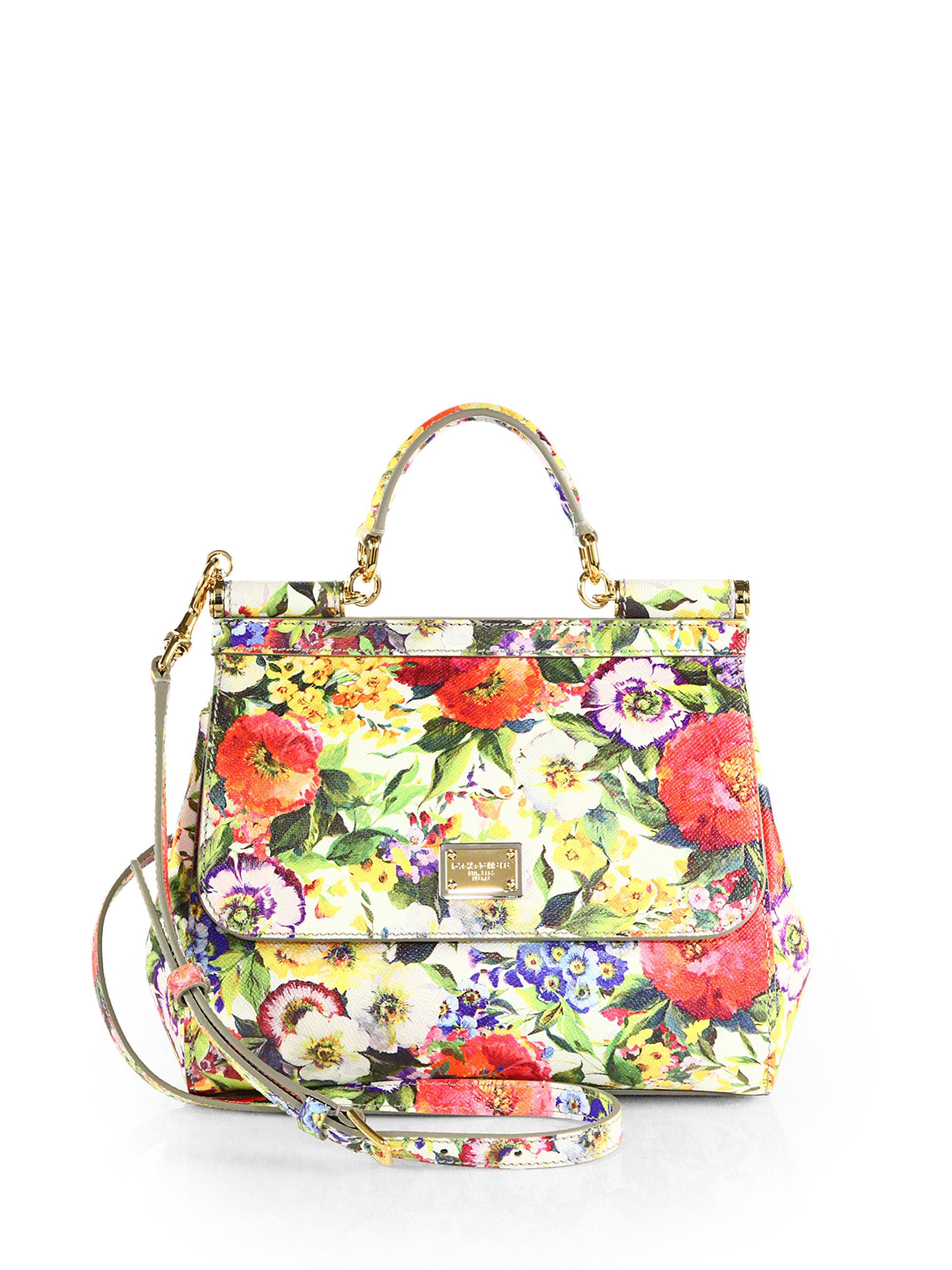 0edfdc133791c Lyst - Dolce   Gabbana Miss Sicily Floral Leather Bag