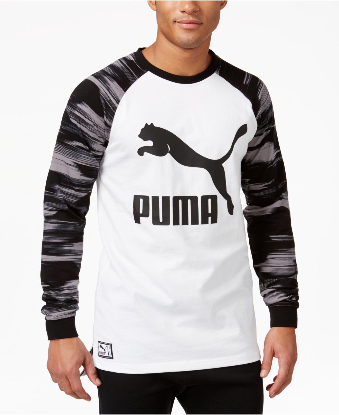 lyst puma mens graphic longsleeve tshirt in white for men