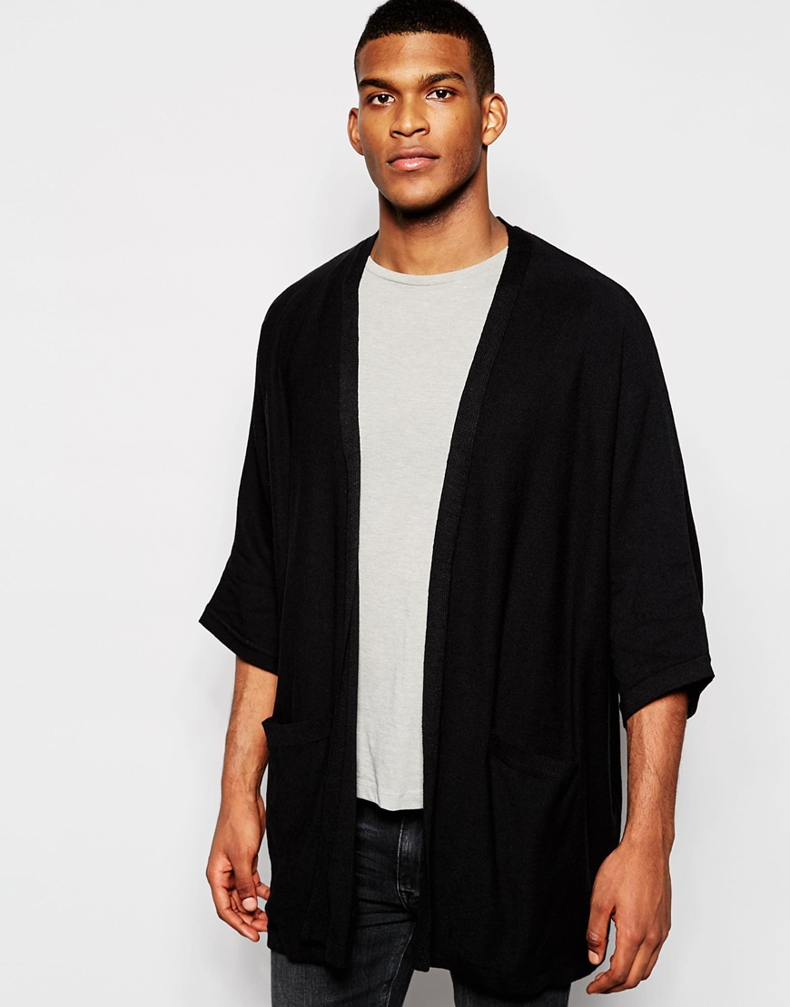 Asos Knitted Kimono in Black for Men | Lyst