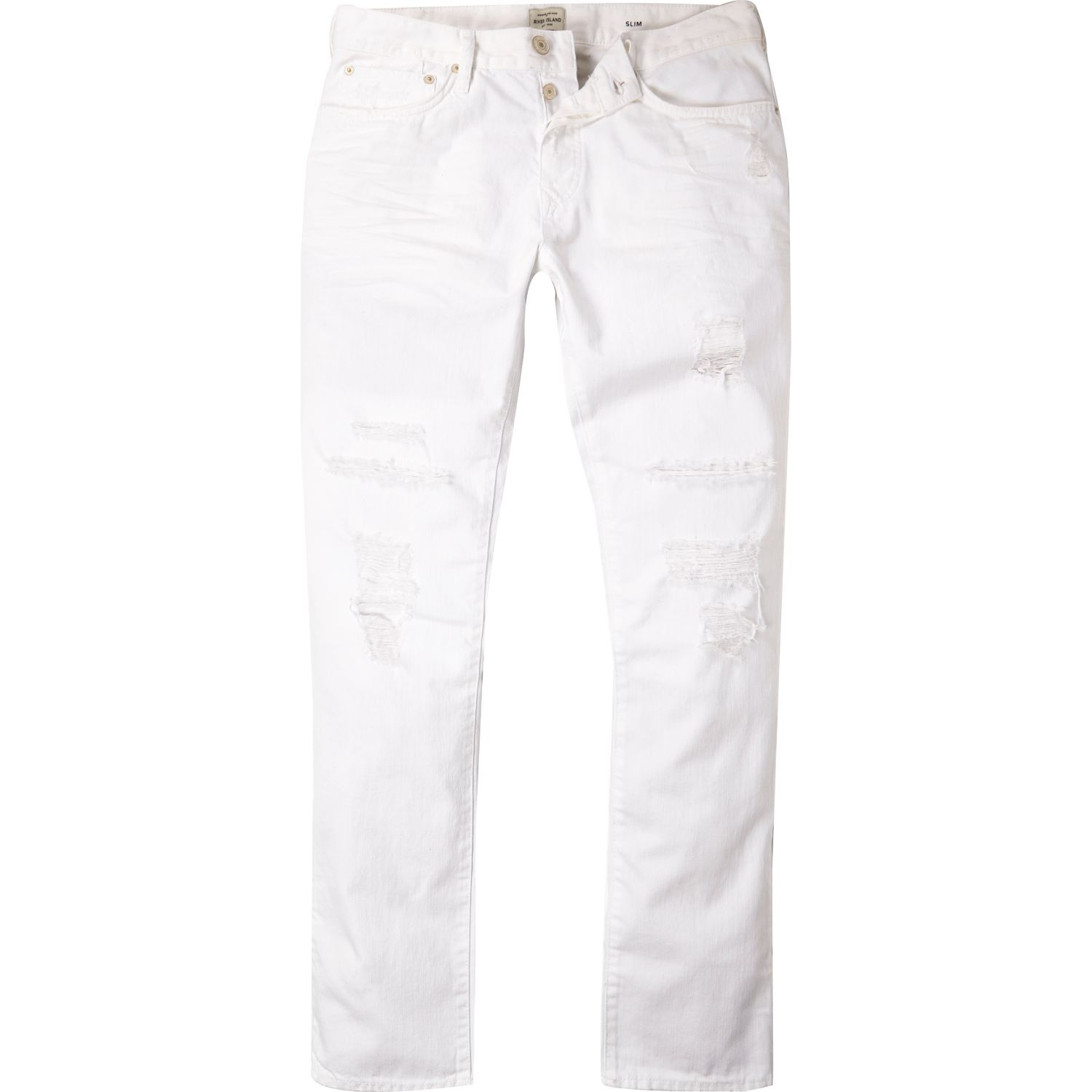 25a29534 River Island White Ripped Dylan Slim Jeans in White for Men - Lyst