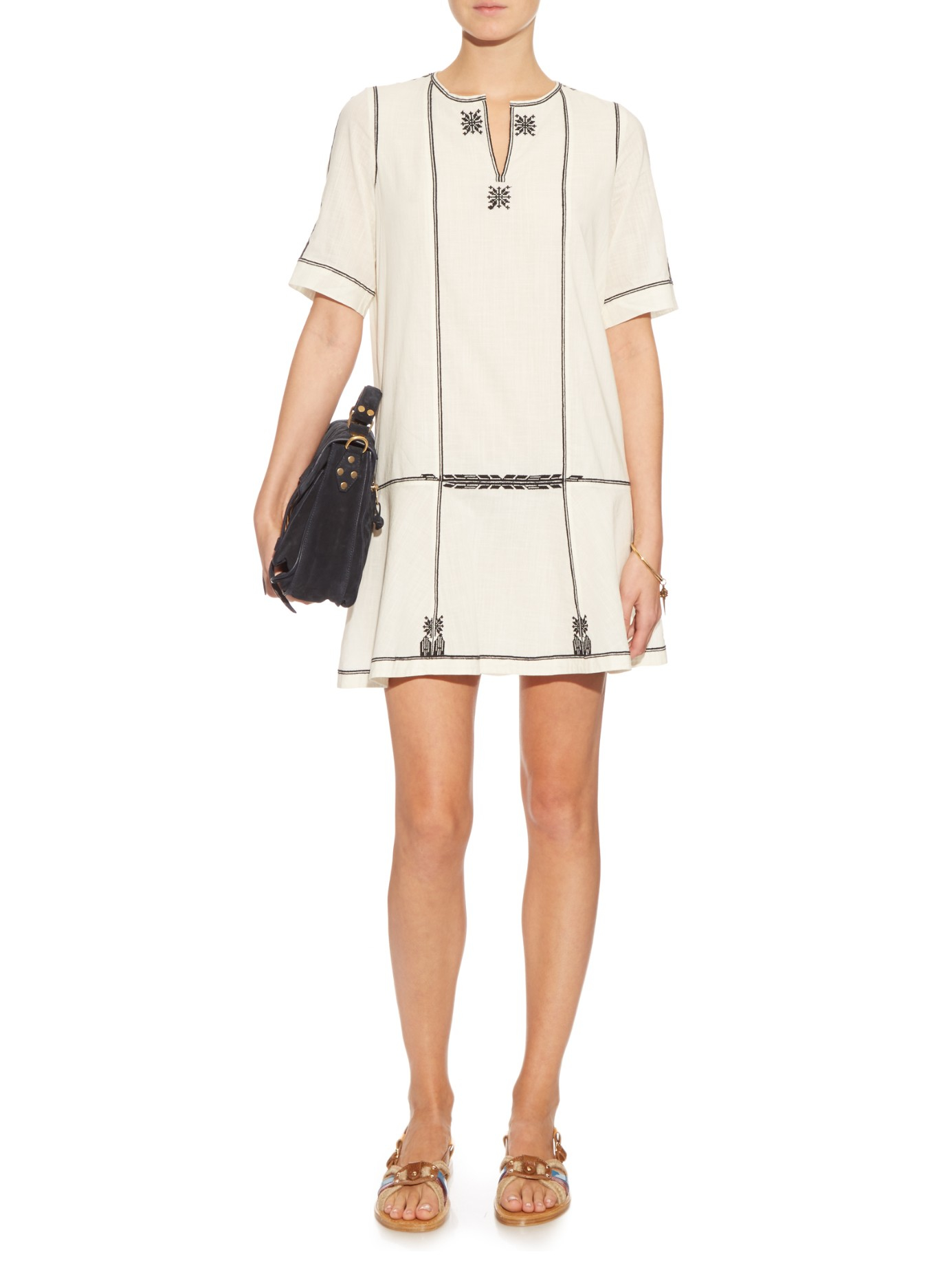 lyst toile isabel marant relly embroidered cotton dress. Black Bedroom Furniture Sets. Home Design Ideas