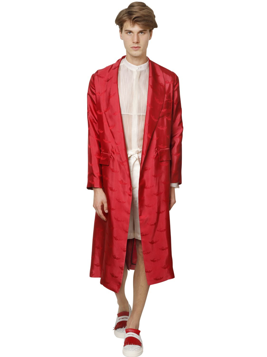 Lyst - La Perla Flying Oyster Silk Jacquard Robe in Red for Men 377676571