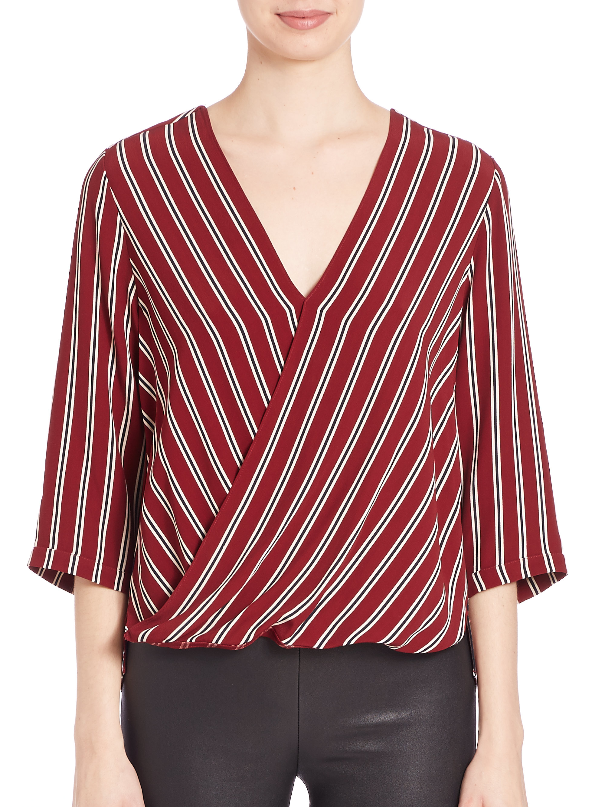 687980c4ca2e7d Lyst - Bailey 44 Intersection Striped Faux-wrap Top in Red