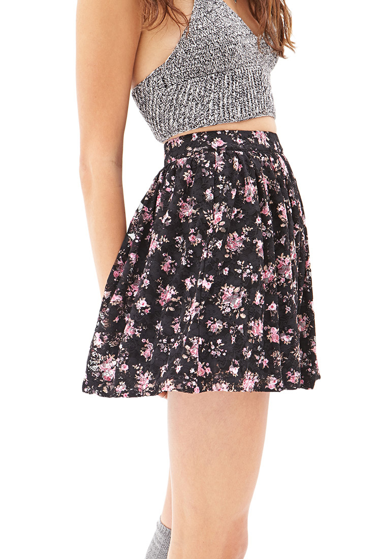 Forever 21 Floral Lace Mini Skirt | Lyst