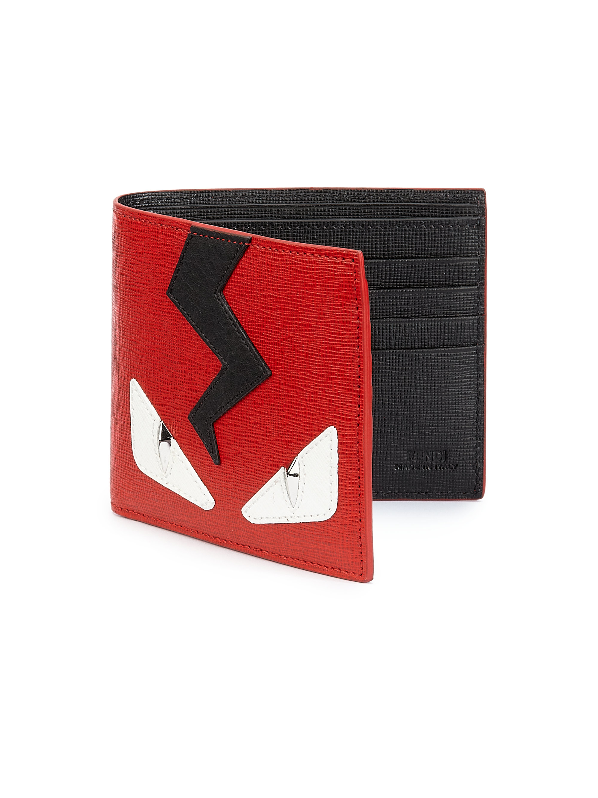 Fendi Monster Leather Bifold Wallet In Red Lyst