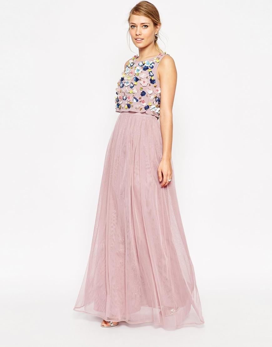 35c89fba107 ASOS Salon 3d Floral Crop Top Mesh Skirt Maxi Dress in Pink - Lyst