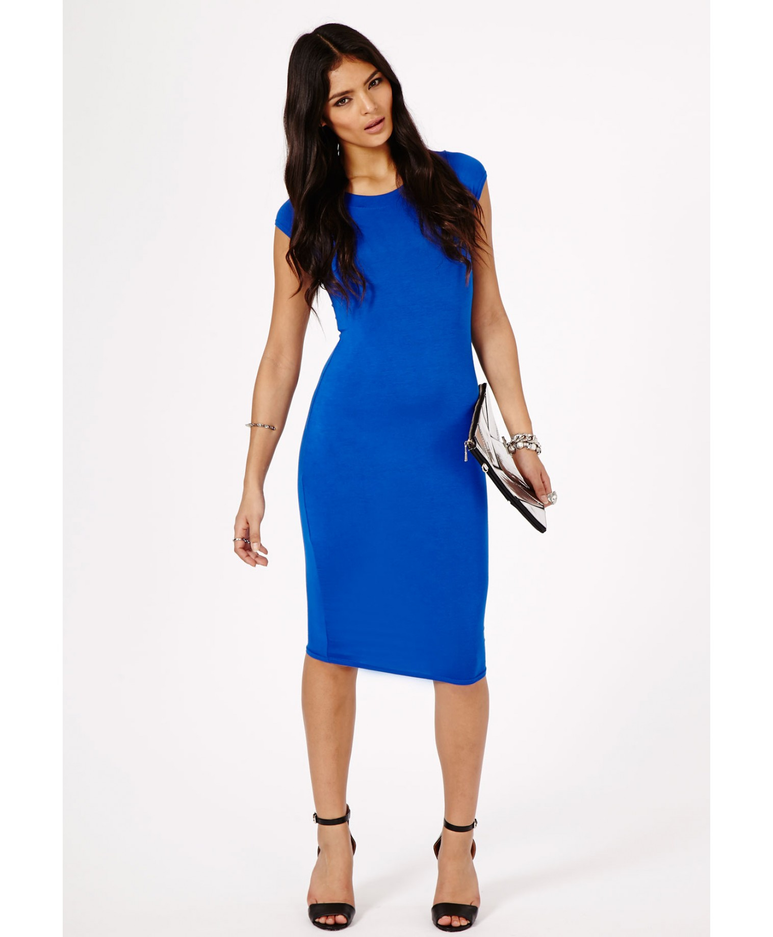 Lyst - Missguided Cailey Bodycon Midi Dress In Cobalt Blue in Blue fc247cf74af8