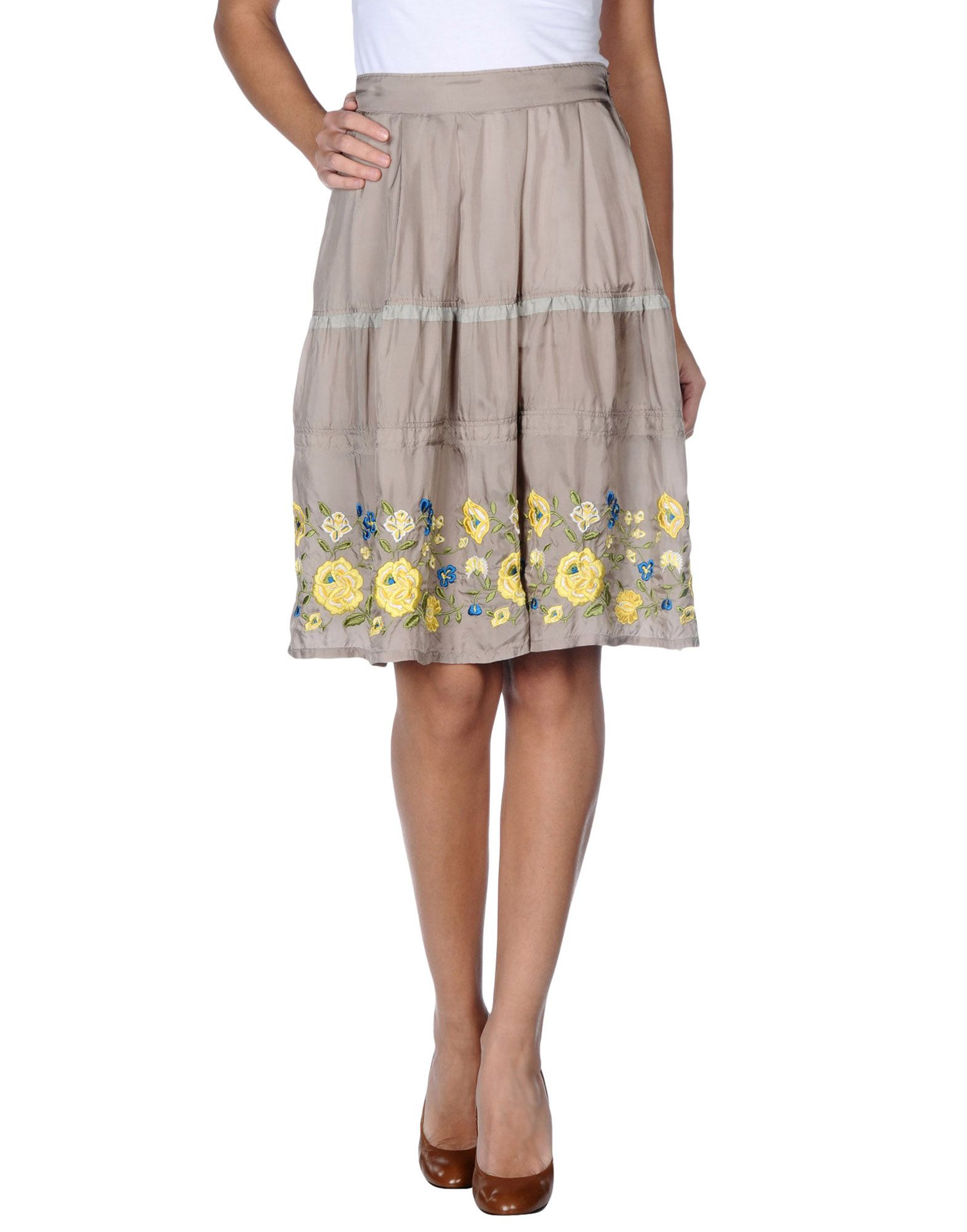 zucca knee length skirt in floral grey lyst