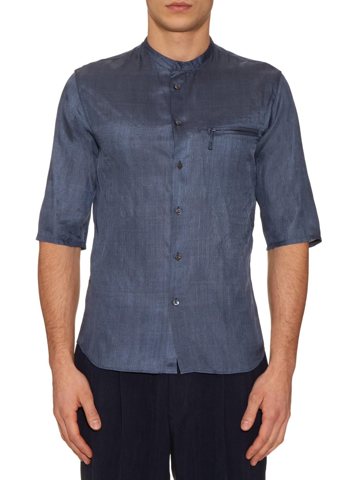 giorgio armani collarless silk shirt in gray for men lyst