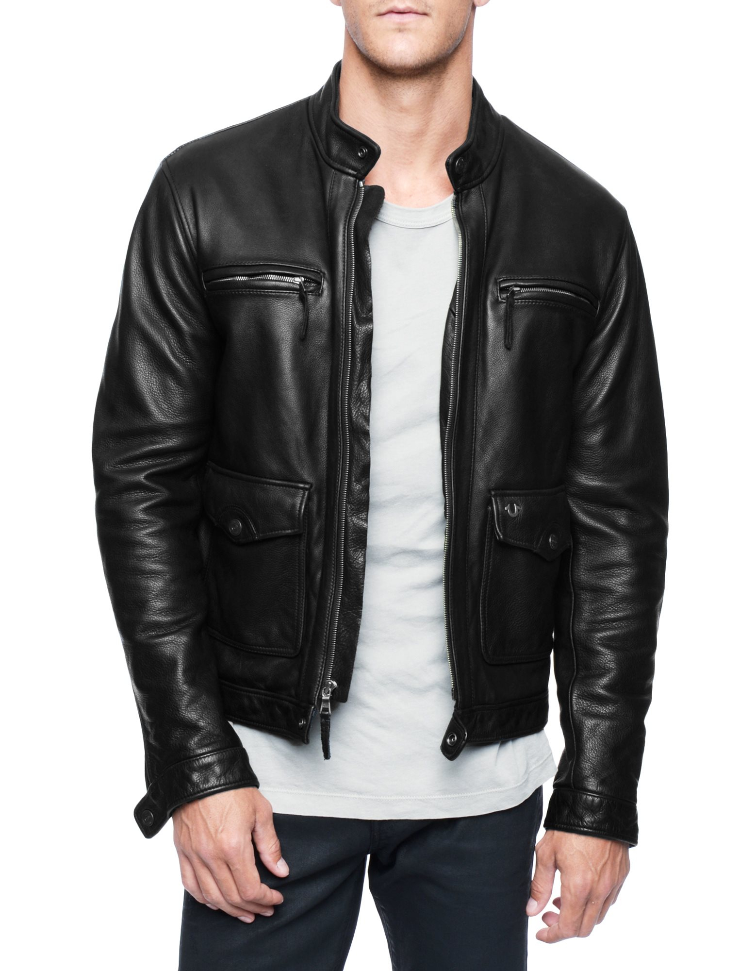 true religion leather racer mens jacket in black for men lyst. Black Bedroom Furniture Sets. Home Design Ideas