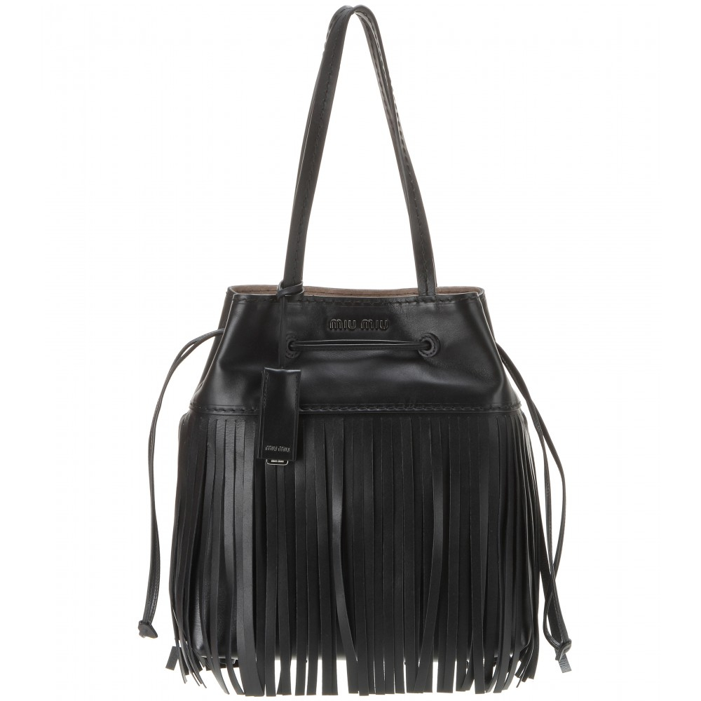 bb391d2daecd Miu miu Fringe-Trimmed Leather Bucket Bag in Black (nero made in .