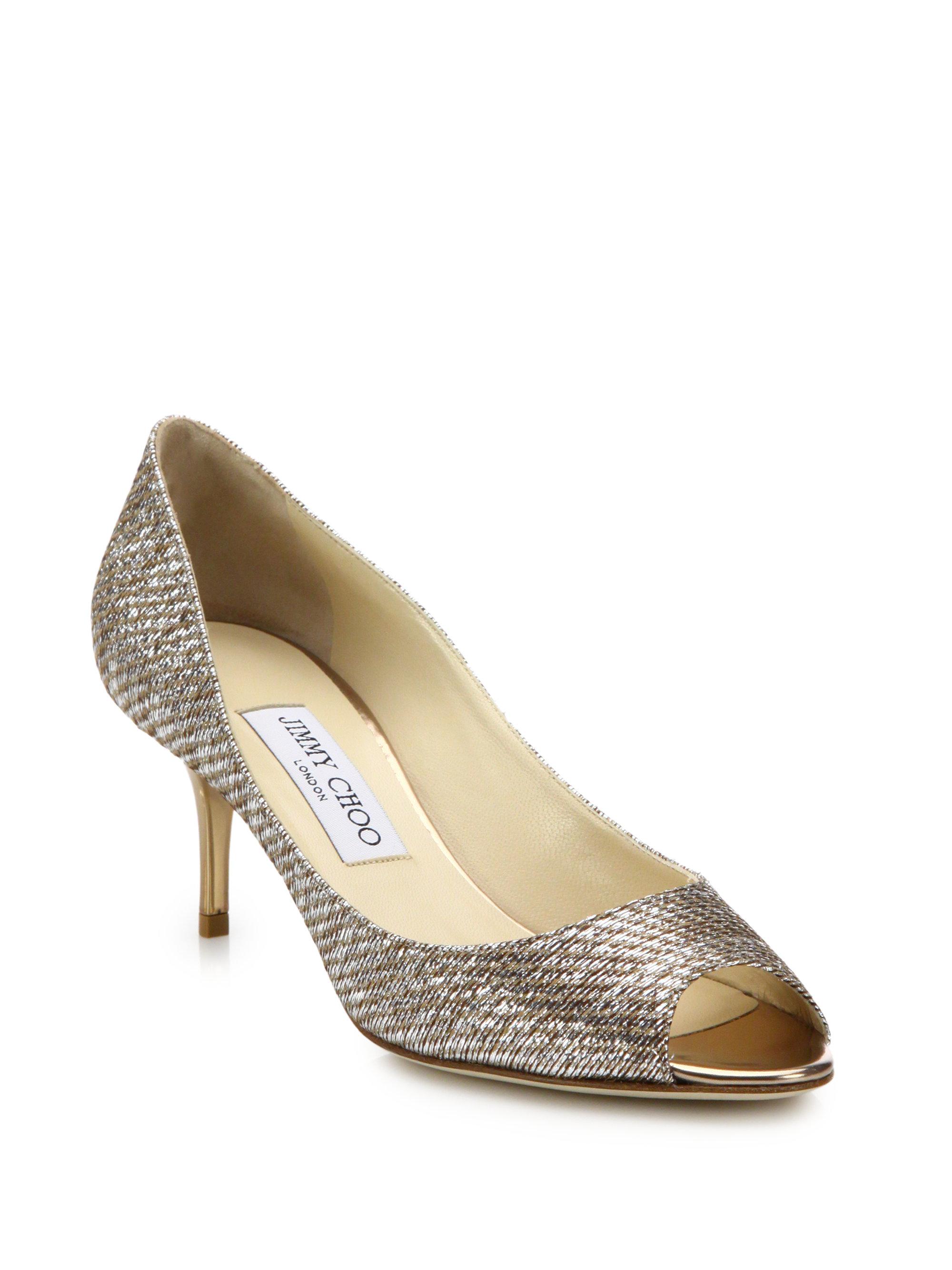 641cd1d55ed4 ... best lyst jimmy choo isabel 65 lamé mid heel peep toe pumps in metallic  0cfe9 7c32b