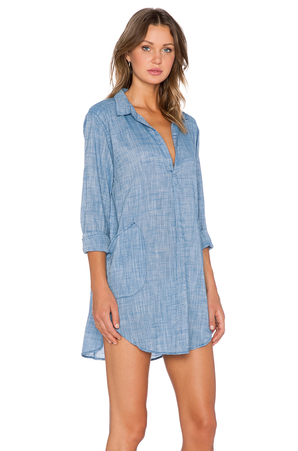 Lyst cp shades teton chambray top in blue for Chambray top